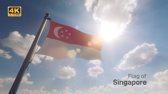 Thumbnail for Singapore Flag on a Flagpole V2 - 4K