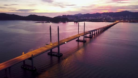 Aerial dramatic highway light of Penang Second Bridge with dramatic twilight