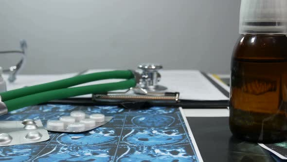 Thumbnail for Medical Papers On The Desktop In A Modern Hospital