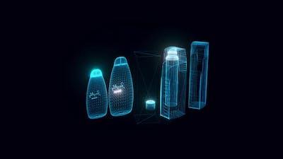 Set Of Shampoos Glass Packaging Hologram Rotating 4k