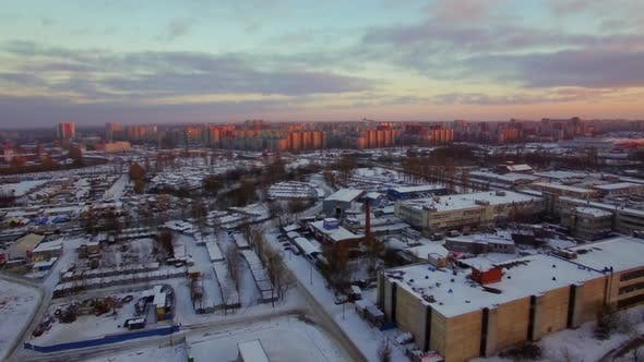 Aerial winter scene of St Petersburg in early morning, Russia
