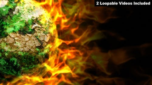 Burning Earth - Global Warming Concept