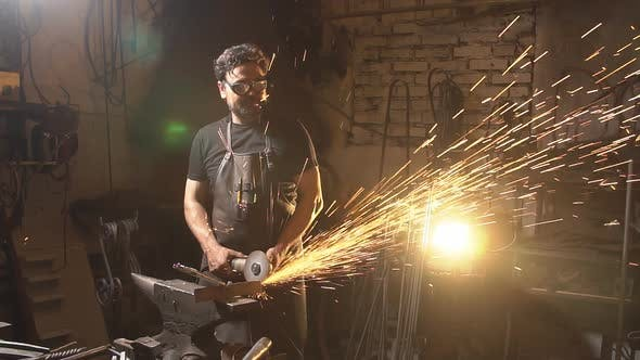 Thumbnail for Sparks During Cutting of Metal Angle Grinder. Slow Motion
