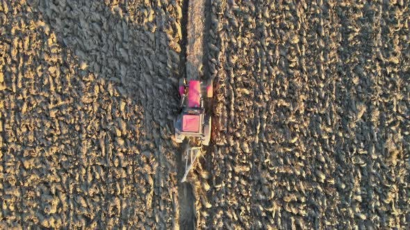 Tractor Plowing Fields Preparing Land for Sowing