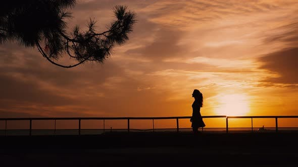 Thumbnail for Girl Is Walking on Embankment with Backlight Sunset