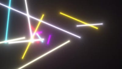 Camera Flash Reveals Abstract Neon Tube Lights, Flies Through, Fades to White.
