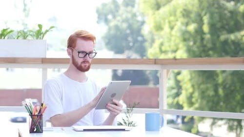 Using Tablet for Online Browsing, Balcony of Office Outdoor