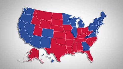 Result of the US Election 2020 - Animated Map Showing Red and Blue States