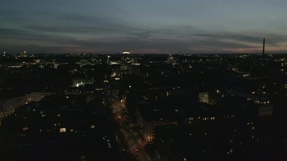 AERIAL View of Empty Berlin Germany Neighbourhood with City Light During COVID 19 Coronavirus