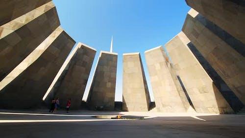 Tourist By Armenian Genocide Memorial In Yerevan