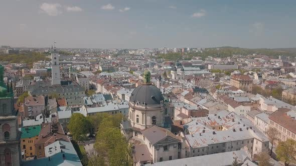 Thumbnail for Aerial City Lviv, Ukraine. European City. Popular Areas of the City. Dominican