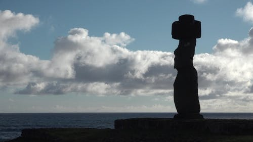 Ancient and Mysterious Sculpture in Easter Island, Chile.