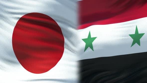 Thumbnail for Japan and Syria Handshake, International Friendship Relations, Flag Background