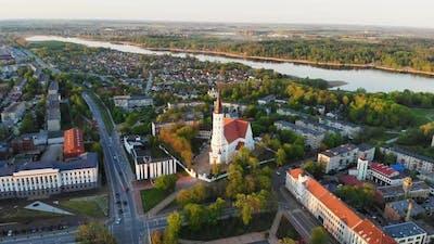 Cinematic View Siauliai City Panorama