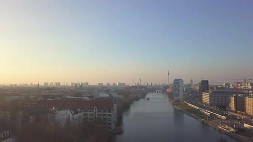 AERIAL: Over Berlin Spree River in Beautiful Sunlight