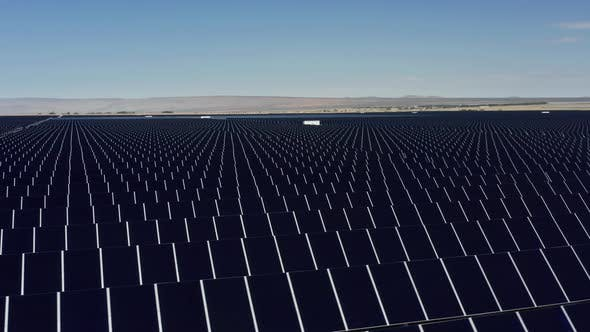 Thumbnail for Aerial Panoramic View of Solar Energy Farm in the Desert Nature on Sunny Day