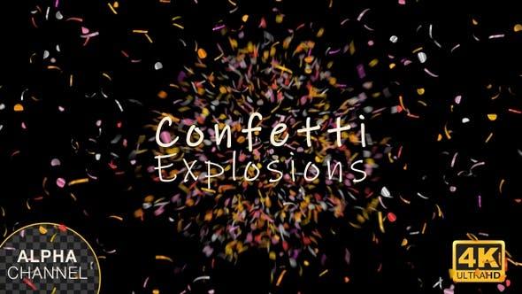 Multi Colored Confetti Explosions