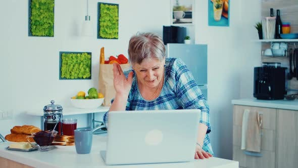 Thumbnail for Grandmother Waving in Video Call