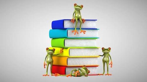 Fun frogs next to a piggy bank, a euro, books, a brain, a dollar