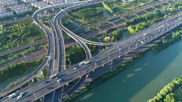 Aerial Drone View Highway Multilevel Junction Road Moving Car Sunset