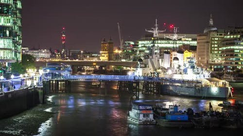 timelapse london city skyline skyscrapers architecture warship hms belfast
