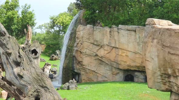 Thumbnail for A Small Waterfall in a Wildlife Park, A Fabulous Place in Sunny Weather