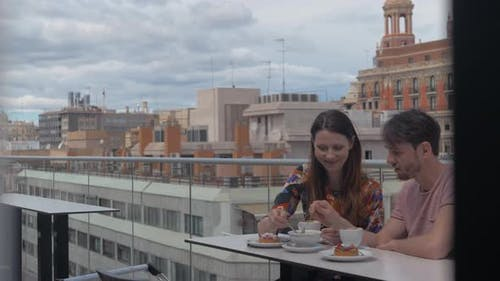 Date in rooftop cafe with delicious lunch