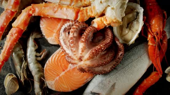 Thumbnail for The Breast of Fresh Seafood Slowly Rotates.