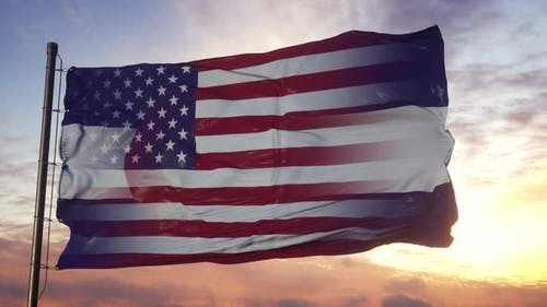 Colorado and USA Flag on Flagpole
