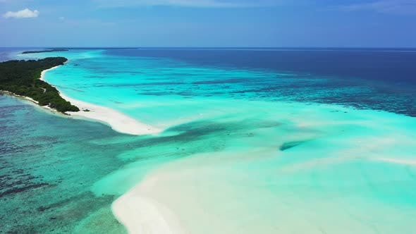 Thumbnail for Natural birds eye tourism shot of a paradise sunny white sand beach and turquoise sea background in