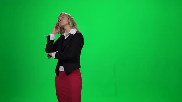 Thumbnail for Blond Female Looking Upset Standing Against Green Screen Chroma Key Background