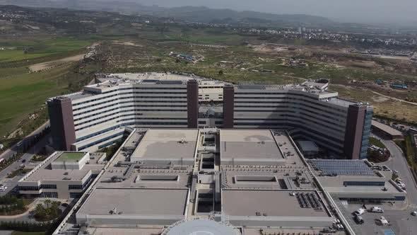 Aerial Drone Helipad Over Hospital