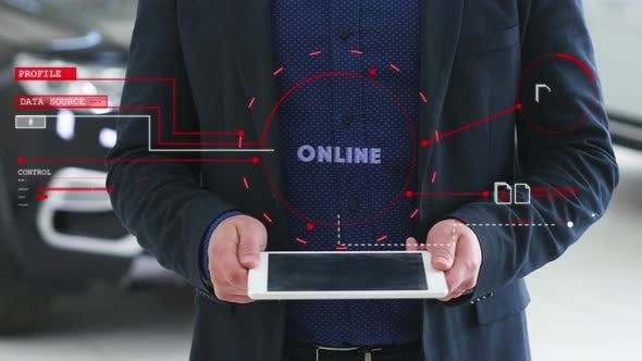Man with a Futuristic Screen with the Word ONLINE. The Concept of the Future Interface on a