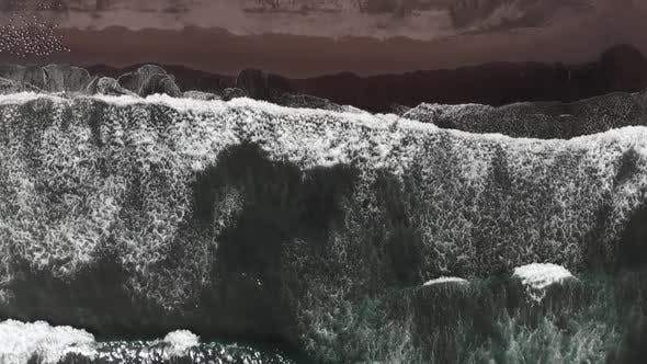 Top View of the Giant Waves, Foaming and Splashing in the Ocean, Slow Motion Video