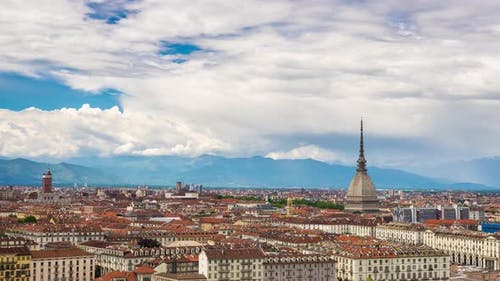 Turin time lapse, Italy, Torino skyline with the Mole Antonelliana