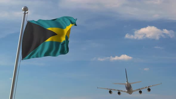 Thumbnail for Airplane Flying Over Flag of Bahamas