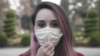 Girl With Mask Make Breath