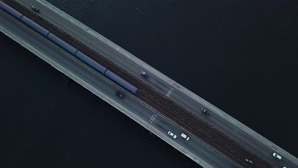 Top View of the Metro Bridge in Kiev Ukraine