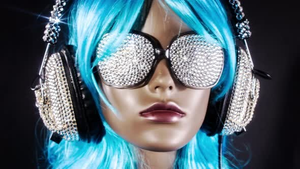 Thumbnail for mannequin music headphones diamonds crystals bling 4k
