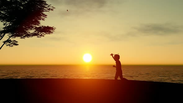 Thumbnail for Child Playing at Sunset