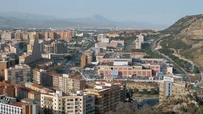 Alicante cityscape among the hills, Spain