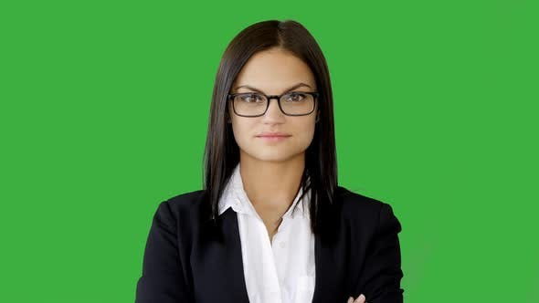 Thumbnail for Portrait of Attractive Young Business Woman Isolated on Green Screen Background