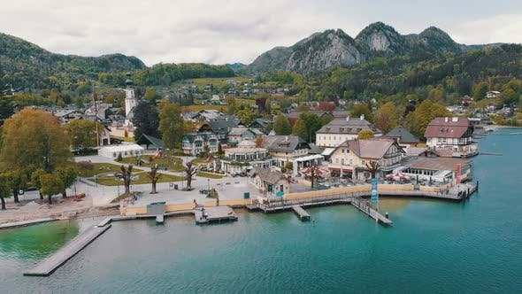 Cover Image for Scenic Aerial View of Mountain Village and Lake, Wolfgangsee, Salzburg, Austria, Alps