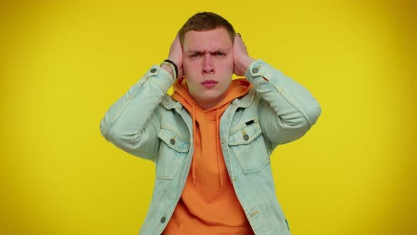 Frustrated Irritated Man Covering Ears Avoiding Advice Ignoring Unpleasant Noise Loud Voices