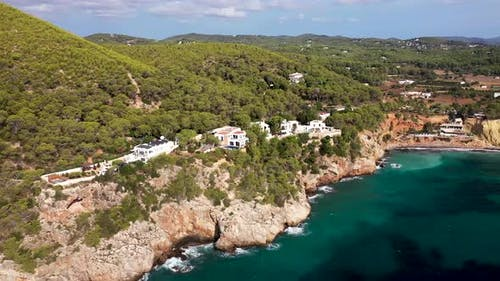 The beautiful beach front of the Island of Ibiza in Spain