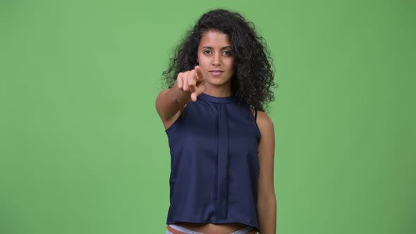 Thumbnail for Young Beautiful Hispanic Businesswoman Pointing at Camera