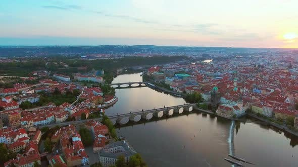Thumbnail for Aerial View of Prague City and River Vitava at Morning
