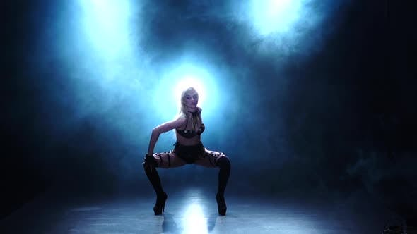 Thumbnail for Dancer Demonstrating Her Perfect Figure. Smoky Studio, Slow Motion