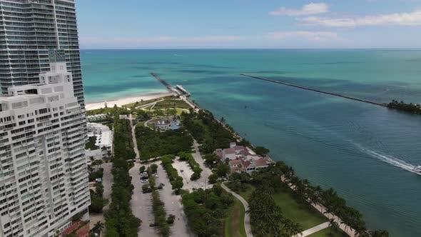 Thumbnail for Aerial shot Miami Beach South Pointe Park