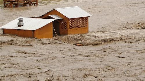 The Flood Washed Away the Building Natural Ecological Disaster River Overflowing Global Warming
